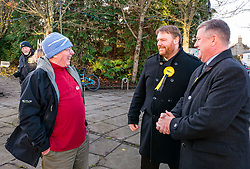 Pictured: SNP Depute Leader Keith Brown MSP joins Owen Thompson, SNP candidate for Midlothian<br /> <br /> Loanhead, Midlothian, Scotland, United Kingdom, 18 November 2019. General Election campaigning:  SNP Depute Leader Keith Brown MSP joins Owen Thompson, SNP candidate for Midlothian, on the campaign trail at Fountain Green, Loanhead.<br /> Sally Anderson | EdinburghElitemedia.co.uk