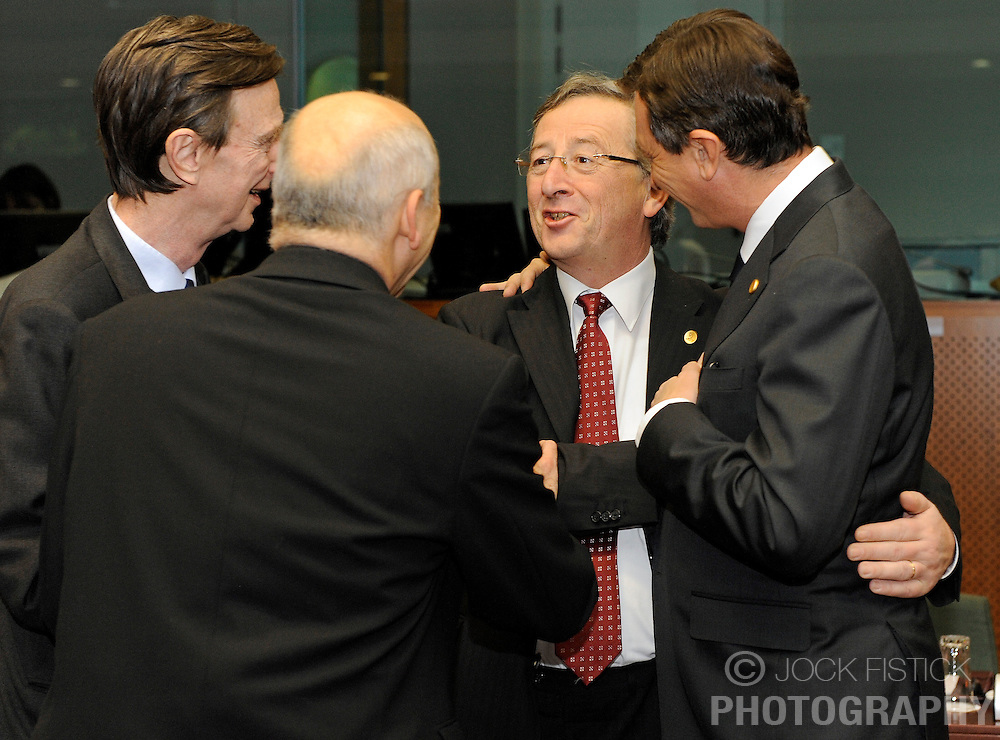 Jean-Claude Juncker, Luxembourg's prime minister, center is greeted by Borut Pahor, Slovenia's prime minister, during the second day of the European Summit, in Brussels, Belgium, Friday, Dec. 12, 2008. (Photo © Jock Fistick)