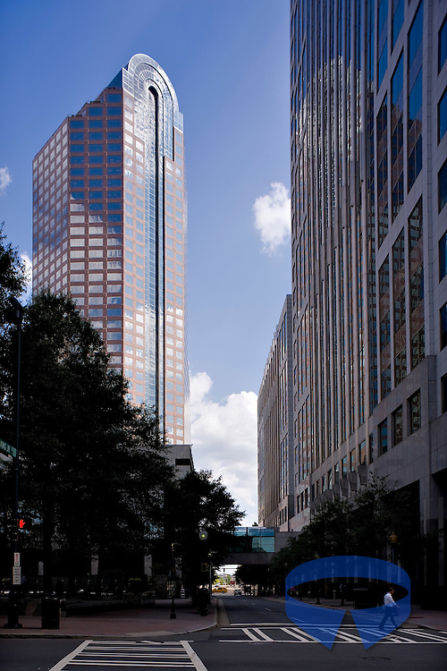 One Wells Fargo Center, located at 301 South College Street in Charlotte, North Carolina, rises 588 feet and contains 42 stories.