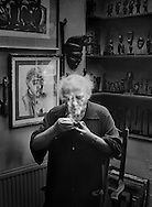 Josef Herman in his studio,<br /> London.<br /> <br /> Josef Herman (1911-2000), also known in Wales as 'Joe Bach' (little Joe), was a highly regarded Polish-British realist painter who influenced contemporary art, particularly in the United Kingdom. <br /> <br /> He was among more than a generation of eastern European Jewish artists who emigrated to escape persecution and worked abroad.<br /> <br /> Herman's central theme was working men, and having lived for eleven years within the coal mining community of Ystradgynlais in South Wales, he will probably be best remembered for his renderings of Welsh miners.<br /> <br /> He created an extensive collection of African sculpture and his figure style was to some extent based on it.<br /> <br /> Commissioned by the Glynn Vivian Art Gallery.