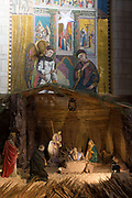 Israel, Nazareth, interior of the Basilica of the Annunciation, the grotto. Nativity scene