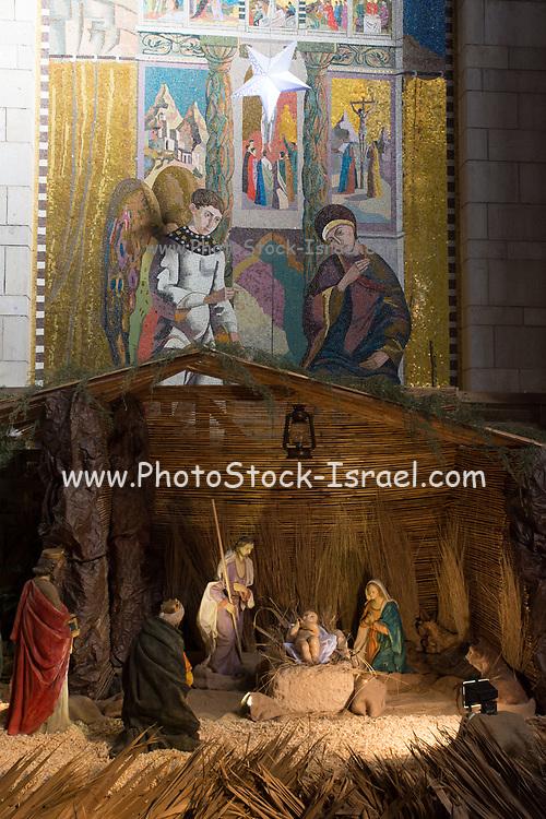Israel, Nazareth, interior of the Basilica of the Annunciation, the grotto. Nativity scene