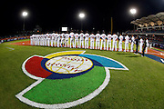 NEW TAIPEI CITY, TAIWAN - NOVEMBER 15:  Members of Team Chinese Taipei are seen in the base path during the opening ceremony before Game 2 of the 2013 World Baseball Classic Qualifier against Team New Zealand at Xinzhuang Stadium in New Taipei City, Taiwan on Thursday, November 15, 2012.  Photo by Yuki Taguchi/WBCI/MLB Photos