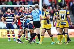 Olly Robinson (capt) of Bristol Rugby reacts after Tusi Pisi is sahown a red card by referee Wayne Barnes - Rogan Thomson/JMP - 26/12/2016 - RUGBY UNION - Ashton Gate Stadium - Bristol, England - Bristol Rugby v Worcester Warriors - Aviva Premiership Boxing Day Clash.