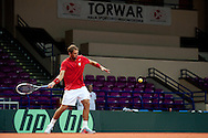 Jerzy Janowicz of Poland during his training session three days before the BNP Paribas Davis Cup 2013 between Poland and Australia at Torwar Hall in Warsaw on September 10, 2013.<br /> <br /> Poland, Warsaw, September 10, 2013<br /> <br /> Picture also available in RAW (NEF) or TIFF format on special request.<br /> <br /> For editorial use only. Any commercial or promotional use requires permission.<br /> <br /> Photo by © Adam Nurkiewicz / Mediasport