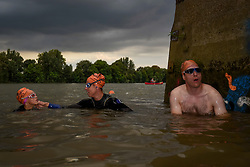 © Licensed to London News Pictures. 31/08/2018. LONDON, UK.  Participants complete the Thames River Swim as part of Totally Thames 2018.  Swimmers set off on a circular route from Hammersmith and around Chiswick Eyot, approximately 1500m.  Photo credit: Stephen Chung/LNP