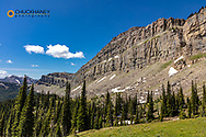 Looking south along the Chinese Wall in the Bob Marshall Wilderness, Montana, USA