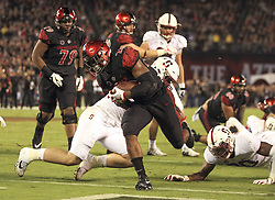 September 16, 2017 - San Diego, CA, USA - San Diego State running back Rashaad Penny scores on a 4-yard touchdown run in the second quarter against Stanford at Jack Murphy Stadium in San Diego on Saturday, Sept. 16, 2017. (Credit Image: © Hayne Palmour Iv/TNS via ZUMA Wire)