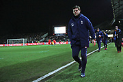 Tottenham Hotspur Manager Mauricio Pochettino arrives at the pitchside during the The FA Cup 4th round match between Newport County and Tottenham Hotspur at Rodney Parade, Newport, Wales on 27 January 2018. Photo by Gary Learmonth.