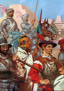 Cortez and his soldiers enter Teotihuacan City, Mexico.