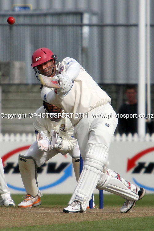 Andrew Ellis during day three of the plunket shield cricket match between the Northern Knights and Canterbury Wizards . Domestic 4 day cricket, Seddon Park, Hamilton. 1 December 2011. Photo: Dion Mellow / photosport.co.nz