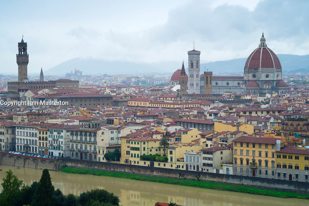 View over historic city of Florence in Tuscany Italy