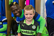 Macot with Forest Green Rovers Drissa Traoré(4) during the EFL Sky Bet League 2 match between Forest Green Rovers and Exeter City at the New Lawn, Forest Green, United Kingdom on 9 September 2017. Photo by Shane Healey.