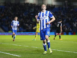 Jamie Murphy of Brighton and Hove Albion celebrates after he scores to make it 3-0 - Mandatory byline: Paul Terry/JMP - 05/02/2016 - FOOTBALL - Falmer Stadium - Brighton, England - Brighton v Brentford - Sky Bet Championship