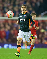 LIVERPOOL, ENGLAND - Wednesday, January 20, 2016: Exeter City's Craig Woodman in action against Liverpool during the FA Cup 3rd Round Replay match at Anfield. (Pic by David Rawcliffe/Propaganda)