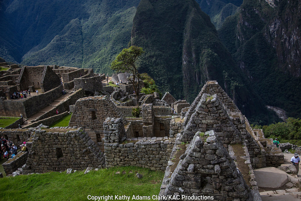 tops of buildings at Machu Picchu, Lost City of the Incas, in the Andes Mountains, of Peru.
