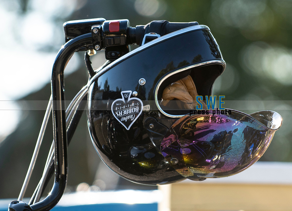 2018-07-04 | Huskvarna, Sweden: A helmet during the car meet in Huskvarna Folkets Park ( Photo by: Marcus Vilson | Swe Press Photo )<br /> <br /> Keywords: , Huskvarna, Huskvarna Folkets Park, Camaro, Corvette, Cars, Power, Muscle, Enthusiast, Motor, Engine, People, USA, Sweden, Chevrolet, Helmet