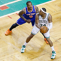 26 April 2013:New York Knicks shooting guard J.R. Smith (8) defends on Boston Celtics small forward Paul Pierce (34) during Game Three of the Eastern Conference Quarterfinals of the 2013 NBA Playoffs at the TD Garden, Boston, Massachusetts, USA.