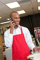 Industrial worker talking on phone