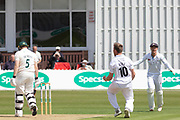 Luis Reece sends off Harry Dearden during the Specsavers County Champ Div 2 match between Leicestershire County Cricket Club and Derbyshire County Cricket Club at the Fischer County Ground, Grace Road, Leicester, United Kingdom on 28 May 2019.