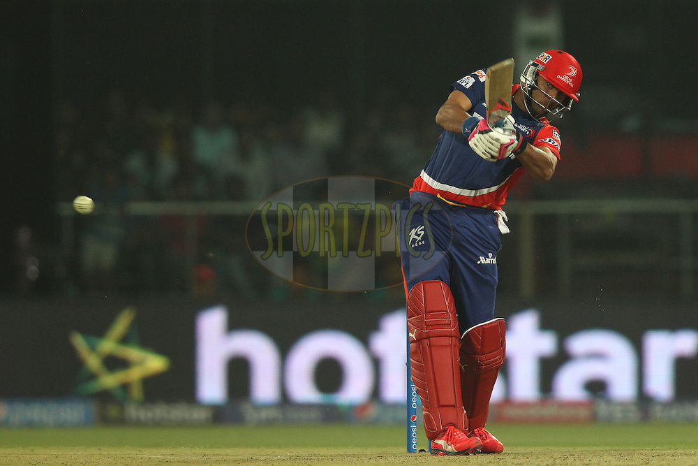 Yuvraj Singh of the Delhi Daredevils plays a delivery through the leg side during match 21 of the Pepsi IPL 2015 (Indian Premier League) between The Delhi Daredevils and The Mumbai Indians held at the Ferozeshah Kotla stadium in Delhi, India on the 23rd April 2015.<br /> <br /> Photo by:  Shaun Roy / SPORTZPICS / IPL
