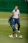Neymar with head coach Tite during Brazil training on June 19, 2018 at Yug-Sport Stadium in Sochi, Russia - Photo Tarso Sarraf / FramePhoto / ProSportsImages / DPPI