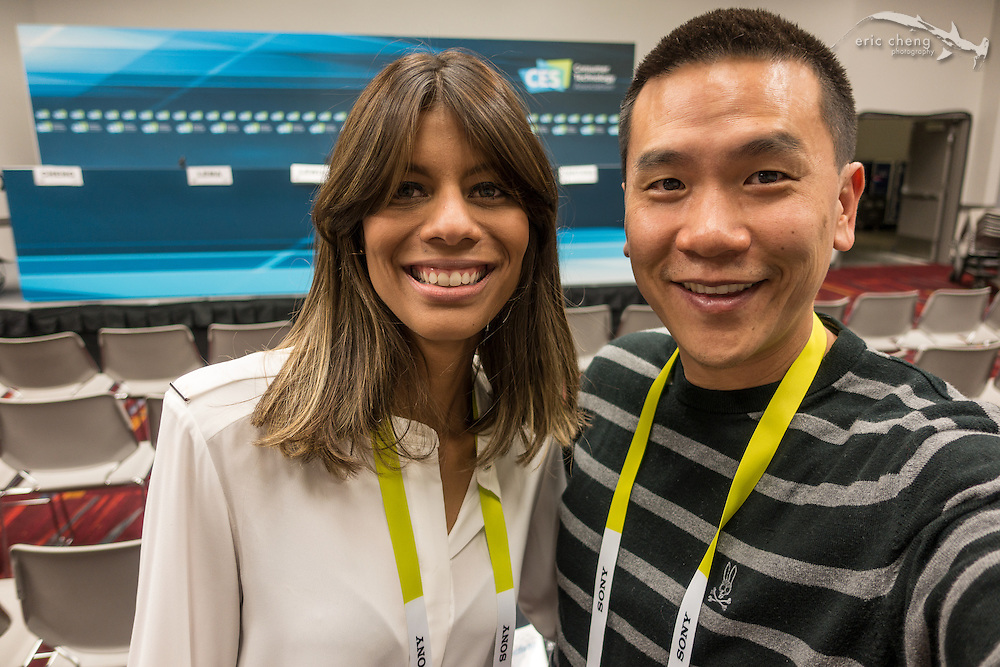 Paola Santana and Eric Cheng after the Drone Uses panel discussion. CES 2016, Las Vegas.