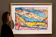 "UNITED KINGDOM, London: 1 February 2016 A Bonham's staff member takes a close look at Frank Auerbach's ""E. O. W. on her Blue Eiderdown"" (estimated to be worth £1,00,000 - 1,500,000) which forms part of the Post-War Contemporary Art Sale which opens 11th of February 2016. Other work includes Andy Warhol's ""Fourteen Small Electric Chairs"" estimated to be worth £4,000,000 - 6,000,000. Rick Findler  / Story Picture Agency"