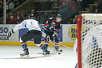 KELOWNA, CANADA, NOVEMBER 25: Zach Franko #9 of the Kelowna Rockets skates with the puck as the Kootenay Ice visit the Kelowna Rockets  on November 25, 2011 at Prospera Place in Kelowna, British Columbia, Canada (Photo by Marissa Baecker/Shoot the Breeze) *** Local Caption *** Zach Franko;