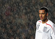 Theo Walcott is lost in the rain. England v Republic of Ireland, Uefa Under-21 Championship Qualifier, Tuesday 5th February 2008, St Marys, Southampton...