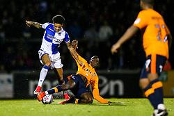 Daniel Leadbitter of Bristol Rovers is challenged by Ousmane Fane of Oldham Athletic - Rogan/JMP - 12/09/2017 - FOOTBALL - Memorial Stadium - Bristol, England - Bristol Rovers v Oldham Athletic - EFL Sky Bet League One.