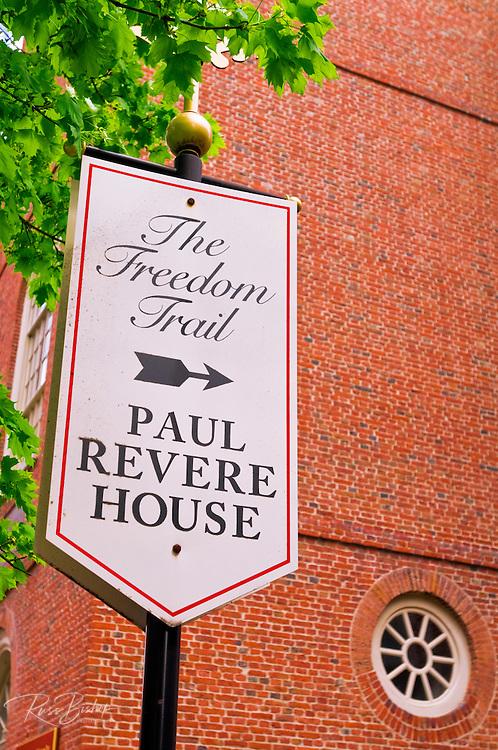 Freedom Trail sign marking the Paul Revere House, Boston, Massachusetts