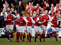 Photo: Glyn Thomas.<br />Rotherham United v Brentford. Coca Cola League 1. 15/04/2006.<br />Rotherham's John Mullin (second from R) celebrates after scoring a goal.