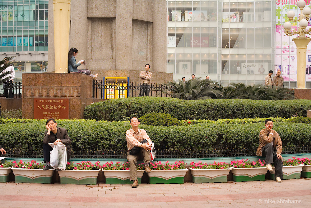 City workers taking a break, Chongqing, The People's Republic of China