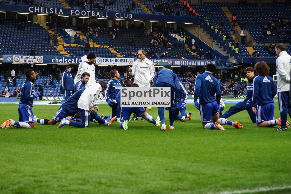 Chelsea first team warming up,  Chelsea v Swansea, Barclays Premier League, 26 December 2013