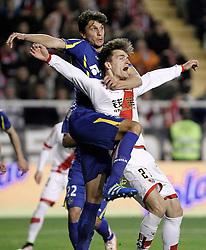 01.04.2016, Estadio de Vallecas, Madrid, ESP, Primera Division, Rayo Vallecano vs Getafe CF, 31. Runde, im Bild Rayo Vallecano's Diego LLorente (r) and Getafe's Santiago Vergini // during the Spanish Primera Division 31th round match between Rayo Vallecano and Getafe CF at the Estadio de Vallecas in Madrid, Spain on 2016/04/01. EXPA Pictures © 2016, PhotoCredit: EXPA/ Alterphotos/ Acero<br /> <br /> *****ATTENTION - OUT of ESP, SUI*****