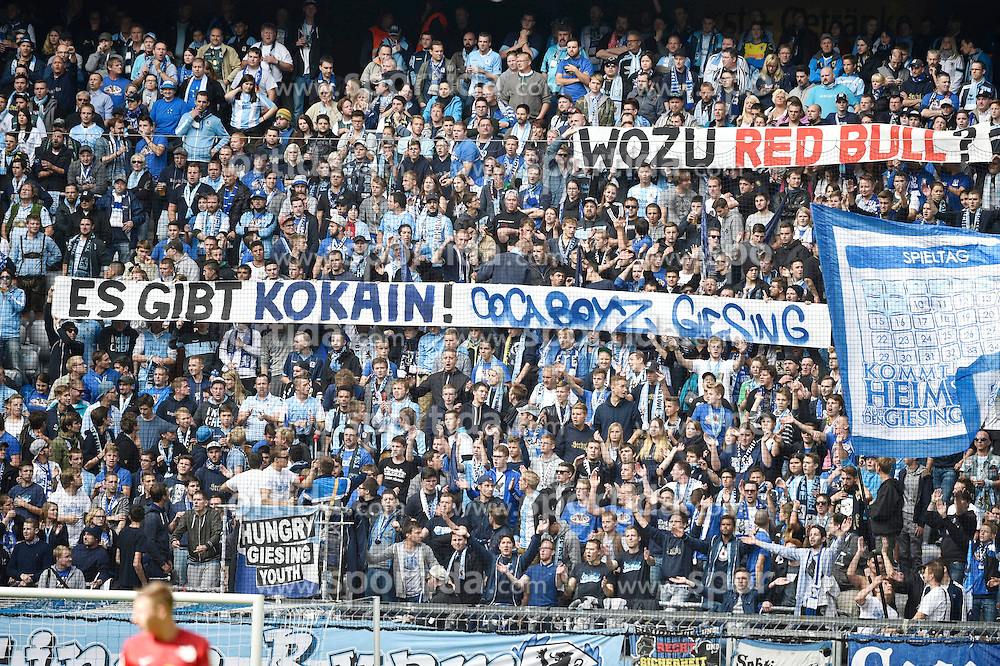 27.09.2015, Allianz Arena, Muenchen, GER, 2. FBL, TSV 1860 Muenchen vs RB Leipzig, 9. Runde, im Bild Fans des TSV 1860 Muenchen, Spruchband, // during the 2nd German Bundesliga 9th round match between TSV 1860 Munich vs RB Leipzig at the Allianz Arena in Muenchen, Germany on 2015/09/27. EXPA Pictures &copy; 2015, PhotoCredit: EXPA/ Eibner-Pressefoto/ Buthmann<br /> <br /> *****ATTENTION - OUT of GER*****