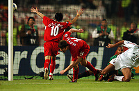 Milan Baros Celebrates with 3rd goalscorer Xabi Alonso Liverpool<br />AC Milan Vs Liverpool 25/05/05<br />The UEFA Champions League Final<br />Ataturk Olympic Stadium in Istanbul<br />Photo Robin Parker Fotosports International