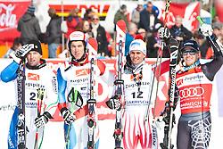 12.03.2010, Kandahar Strecke Herren, Garmisch Partenkirchen, GER, FIS Worldcup Alpin Ski, Garmisch, Men Giant Slalom, im Bild v.l. zweitplazierte Simoncelli Davide, ( ITA, #2 ), Ski Salomon, erstplazierte Janka Carlo, ( SUI, #5 ), Ski Atomic und die beiden drittplazierten Schoerghofer Philipp, ( AUT, #12 ), Ski Atomic und Ligety Ted, ( USA, #3 ), Ski Rossignol, EXPA Pictures © 2010, PhotoCredit: EXPA/ J. Groder / SPORTIDA PHOTO AGENCY