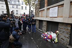 November 13, 2016 - Paris - Plaque en memoire de l attentat au bar le la belle Equipe (Credit Image: © Panoramic via ZUMA Press)