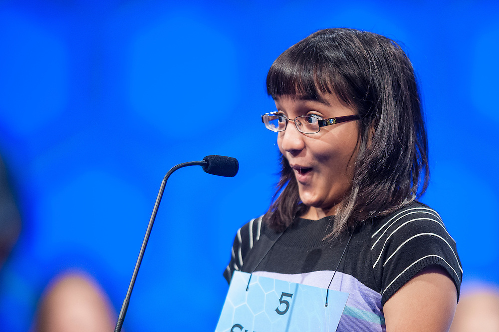 XXXXX competes in the semifinal round of the 85th Annual Scripps National Spelling Bee at the Gaylord National Resort & Convention Center in National Harbor, Md., near Washington, D.C.