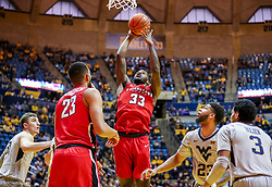 Dec 1, 2018; Morgantown, WV, USA; Youngstown State Penguins forward Naz Bohannon (33) shoots in the lane during the first half against the West Virginia Mountaineers at WVU Coliseum. Mandatory Credit: Ben Queen-USA TODAY Sports