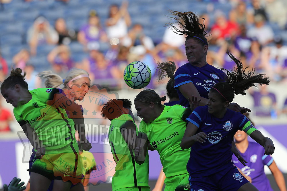 The ball floats through the air in the penalty box during a NWSL soccer match between the Seattle Reign FC and the Orlando Pride at Camping World Stadium on May 8, 2016 in Orlando, Florida. (Alex Menendez via AP)