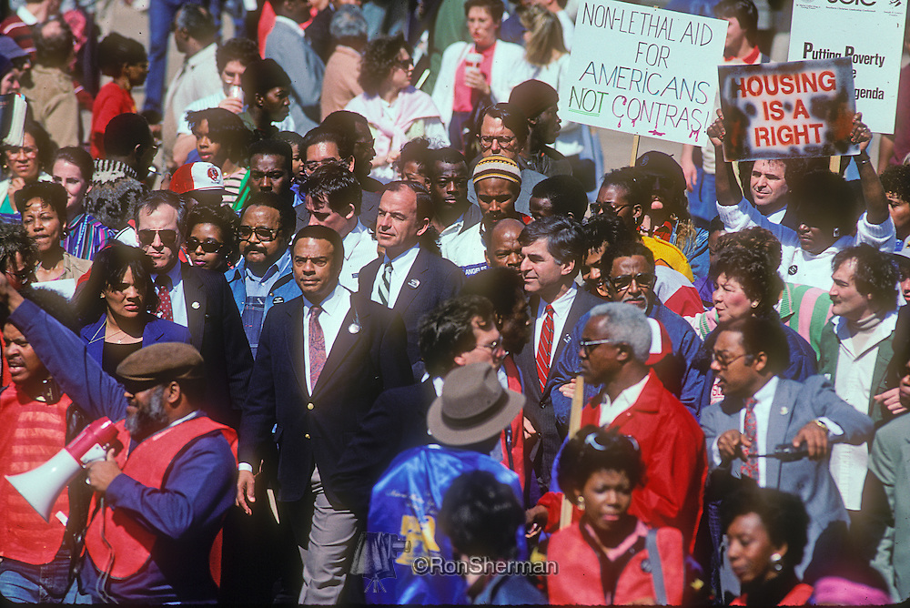 Homeless March in downtown Atlanta GA in 1988 included Andy Young, US Representative John Lewis, Massachusetts Governor Michael Dukakis, Hosea Williams and thousands of supporters
