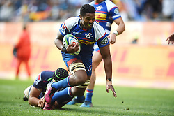Cape Town-180427 Skhumbuzo Notshe of Stomers tackled by  Jermain Ainsley  of the Rebels in a Super 15 match played at Newlands stadium.photograph:Phando Jikelo/African News Agency/ANA