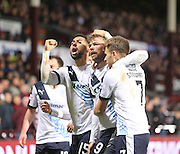 Dundee&rsquo;s Rory Loy celebrates his equalising goal with Kane Hemmings and Greg Stewart - Hearts v Dundee - SPFL Premiership at Tynecastle<br /> <br />  - &copy; David Young - www.davidyoungphoto.co.uk - email: davidyoungphoto@gmail.com
