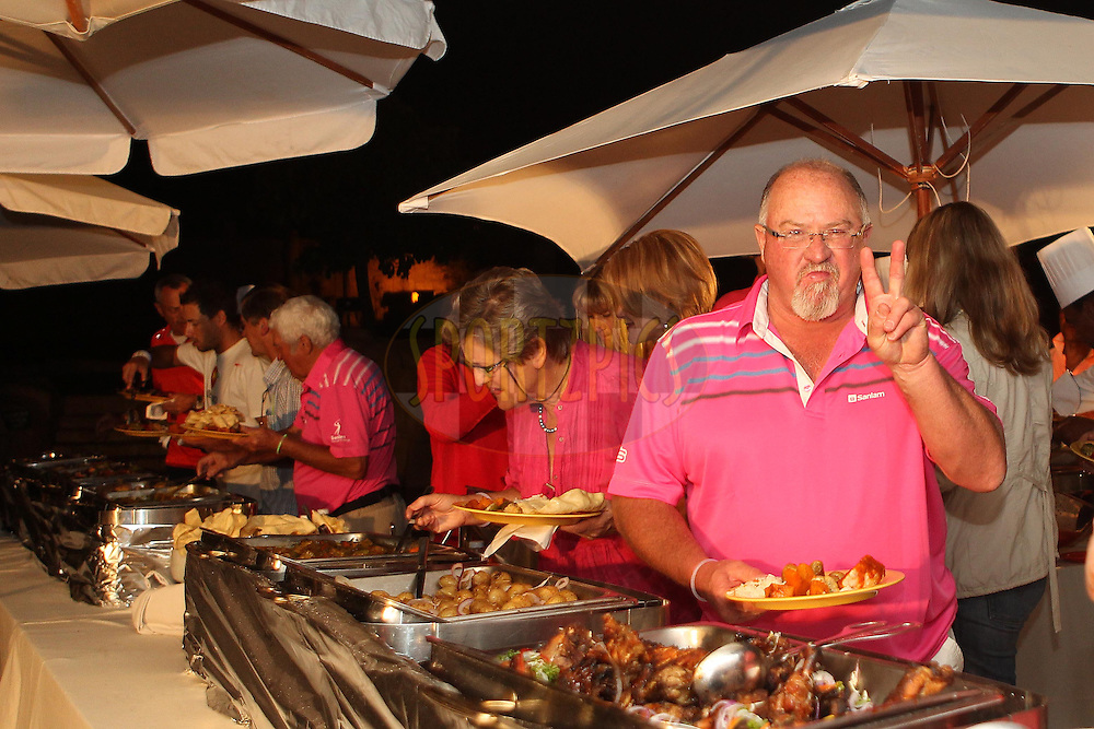 Golfers enjoy the festivities during the Halfway dinner of the Sanlam Cancer Challenge Finals held at The Valley of the Waves in Sun City near Johannesburg on the 21st October 2013<br /> <br /> Photo by Ron Gaunt-SPORTZPICS