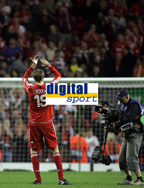 """Photo: Paul Thomas.<br /> Liverpool v PSV Eindhoven. UEFA Champions League. Quarter Final, 2nd Leg. 11/04/2007.<br /> <br /> Goal scorer Peter Crouch of Liverpool thanks the """"Kop"""" end of Anfield after the game."""