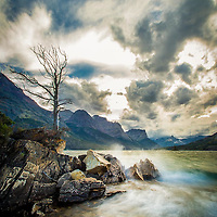 waves crashing on the shore of saint mary lake, glacier national park, montana