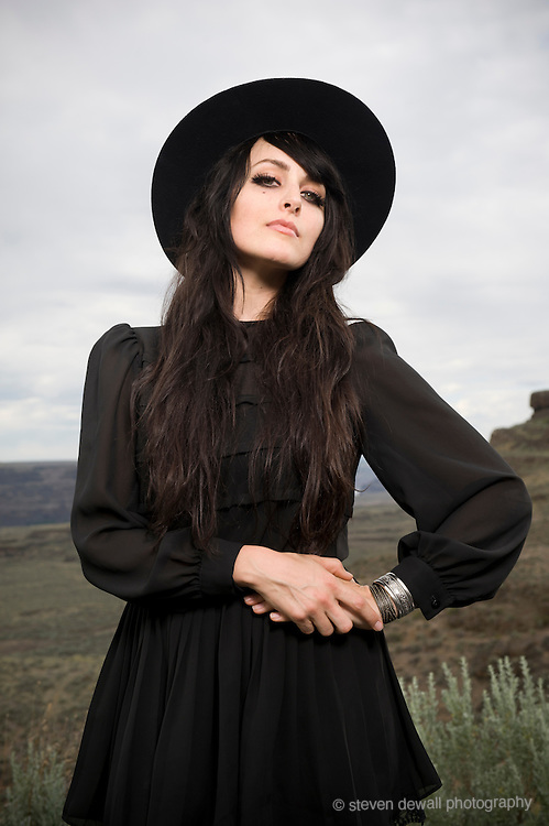 George, WA. - May 26th, 2012 Kristen Control of the Dum Dum Girls pose for a portrait backstage at the Sasquatch Music Festival in George, WA. United States